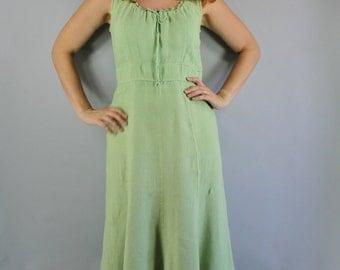 Linen Dress, Summer Dress, Celery Green, Sleeveless, Midi, Easter, Earth Tones, Boho Dress, Festival, Day Dress, Wedding Guest, Medium