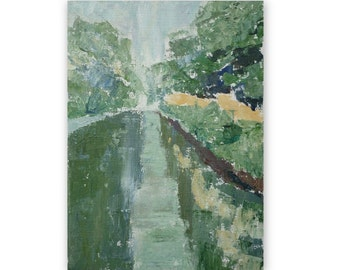 Rainy day, Cromford Canal, original acrylic painting, 5 x 7 inches