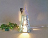 Fairytale Tower with a Pink Roof and Hand Painted Vine - Rapunzel - Night Light - Fairy House - Ready to Ship -