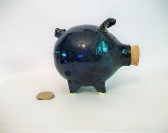 Piggy Bank - Teal , Dark Blue/Green - Handmade on the Potters Wheel - Smaller Piggy - Ready to ship