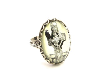 Steampunk Raven Celtic Cross Ring- Edgar Allan Poe- Sterling Silver Finish- Adjustable