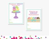 Printable Macaroon Valentines Day Card - School Valentines Day Card - Valentines Day Printables -  Digital Girl Sweet Treat Sticker Label
