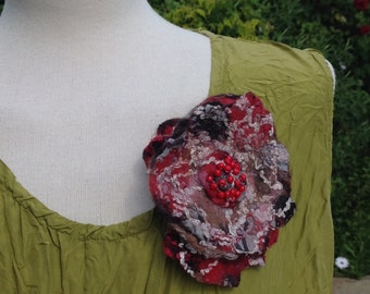Black red Nuno felted cotton and  wool flower corsage pin brooch - beige cream