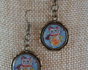 Light Blue Maneki Neko Earrings