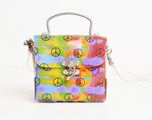 Vintage 90s Neon Tie Dye Peace Sign Box PURSE / 1990s PVC Shoulder Bag