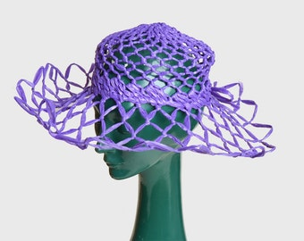 Vintage 60s MOD Purple Straw Floppy Hat / 1960s Wide Brim Basket Woven Hat