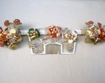 Vintage Japanese geisha comb hairpin wedding set headpiece headdress hair jewelry hair pick hair pin hair fork (AAD)