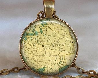 Russia map necklace, Russia necklace, Russia map pendant, Russia pendant, map jewelry, Russian necklace key chain key fob