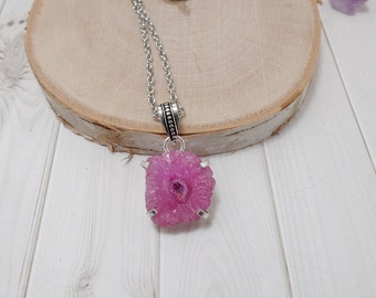 Pink Solar Quartz Necklace, Gemstone Necklace