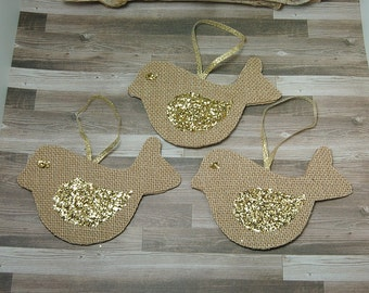 Set of Burlap Bird Ornaments With Gold Glitter Wings