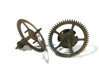 Clock Gears Vintage STEAMPUNK Gears Two (2) Large Clock Gears Mechanical Movements Robots Art Assemblage Supplies Clock Repair Supply (D71)