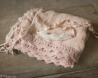 Baby Wrap and Headband Set, Baby Rhinestone Headband, Baby Lace Mauve Pink Wrap, Newborn Props, Baby Props, Halo, Baby Headband, Blush Wrap