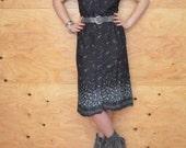 Vintage 70's Black Blue & Pink Floral Sexy Summer Style Button Up Shirt Dress SZ S/M