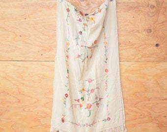 New Old Stock Vintage Creamy White Pastel Embroidered Floral Silk Asian Fringe Shawl