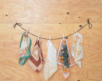 Vintage Handkerchiefs; Brown & Green Lot Of 5 Lovely Hand-Selected Pieces