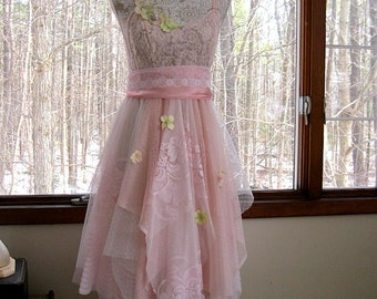 FREE SHIPPING - Baby pink tattered woodland pixie bohemian gypsy hippie wedding or prom dress, vintage laces, 34 inch bust, US 4-6 Small