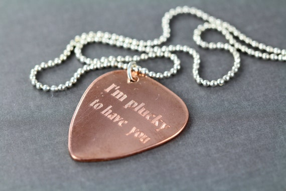 personalized guitar pick necklace custom engraved gift for. Black Bedroom Furniture Sets. Home Design Ideas