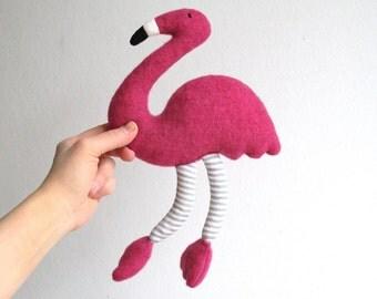 Flamingo, organic, pink, soft, bird, toy, plush, eco-friendly, child gift, fuchsia pink