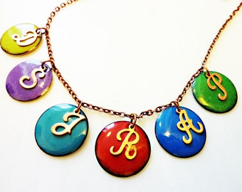 Enamel Initial Necklace, Custom Personalized Jewelry, Copper or Sterling Silver Script Letters, Multiple Colors Enamel Circle Charm Pendant