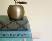 Vintage Solid Brass Bell, Apple Shaped, Vintage Shelf Decor, Gift for Teacher