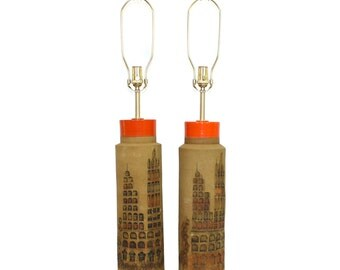 Pair Bitossi for Raymor Italian Pottery Lamps Cityscape Scene