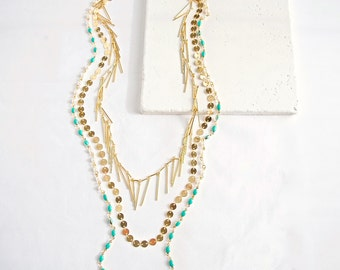 Turquoise Layered Chain Necklace . SALE 30% off