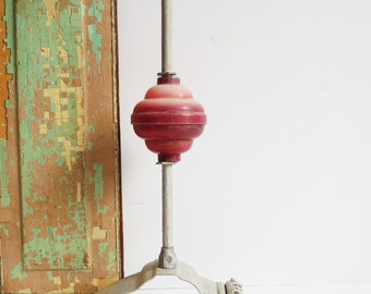 Vintage Roof top finial spear point Architectural salvage Robbins Maryville Missouri Red globe lightning rod roof ornament
