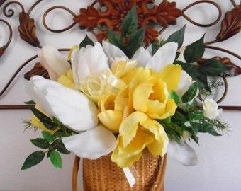 Yellow White Silk Tulip Arrangement in Vintage Nantucket Basket OOAK