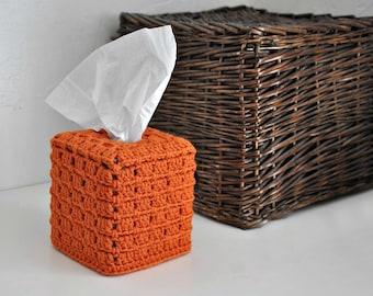 Tissue Box Cover Nursery Decoration  Home Decor Burnt Orange Granny Chic Bathroom