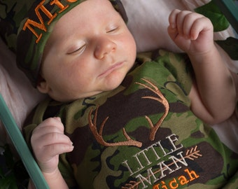Newborn Baby Boy Outfit, Little Man, Camo, Hunting, Deer Antlers,Personalized Baby Beanie Hat, Baby Shower Gift, Newborn, Infant boy