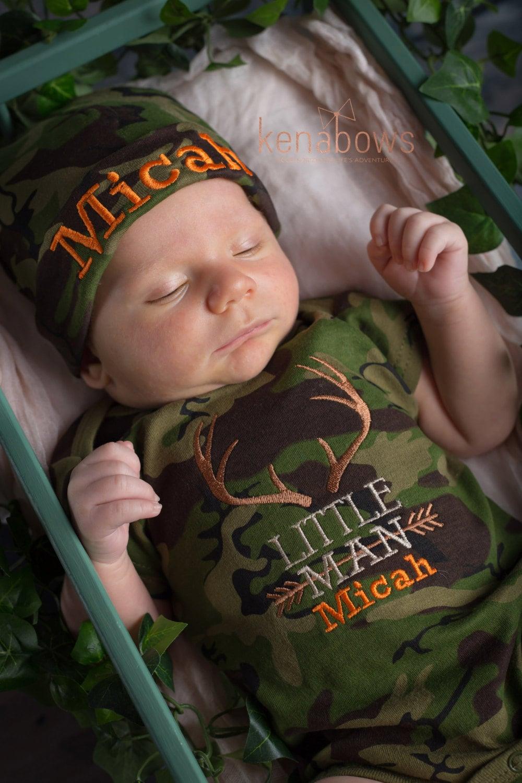 Newborn Baby Boy Outfit Little Man Camo Hunting Deer