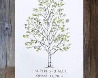 Wedding Guest Book Alternative, Fingerprint tree, Medium Birch Tree, Unique Wedding Guest Book, thumbprint tree, Rustic Wedding
