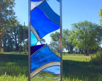 2 STAINED GLASS GARDEN Stakes- Tall art glass for your garden in beautiful Blue
