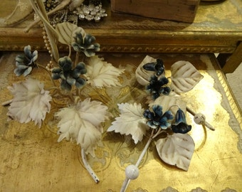 Vintage Italian Tole Flower Hooks and Flowery Towel Stand/w Blue Bell Flowers Shabby Chic Glamorous Boudoir Trio..