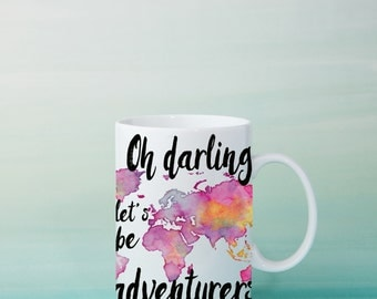 Oh Darling Let's Be Adventurers Coffee Mug - Watercolor World Map Wanderlust Gypsy Travel Boho Cup - Purple / Blue travel gift   Adventure
