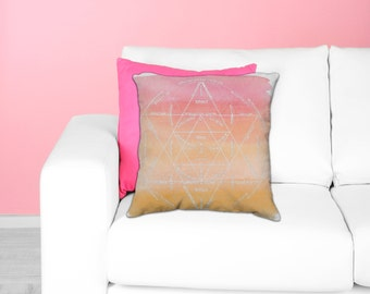 Spirit Soul Body Alchemy Pillow - Sacred Geometry Decor Ombre Gradient Throw Pillow Watercolor Pink Orange Toss Pillow - Alchemical Mandala