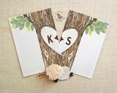 Wedding vows card set. Love tree vow greeting card. Bride and Groom vow card set. Wedding Ceremony cards. WS504