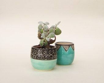 Cute Ceramic Scribble Succulent / Cactus Pot Planter in Charcoal Black and Pale Blue.