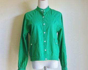 Vintage Cotton Jacket, Kelly Green Jacket, 80s Jacket, Raglan Sleeve Jacket, Sporty Jacket,  Medium Large