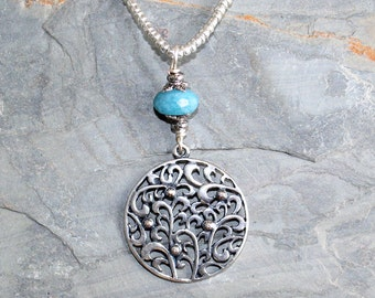 Floral Necklace, Flower Necklace, Blue Necklace, Quartz Necklace, Stone Necklace, Handmade Necklace, Silver Plated Necklace, Flower Pendant