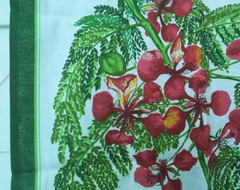 Royal Poinciana Vintage Tea Towel by Fingal, Made in Ireland, Linen Union, Designer Signed 1980, Unused