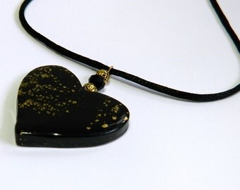 Heart Pendant Heart Necklace Black Heart Pendant Black Heart Pendant Polymer Clay Pendant Valentine's Day Pendant