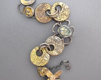 Golden Ancient Roman Glass Disk Bracelet