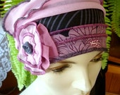 Chemo Hat chemo Headwear Womens grape pink grey floral soft hat beanie Hat Soft Flapper hat Bohemian  with  Flower