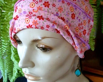 womens Chemo Hat girls chemo hat Pink Floral Turban slouchy Hat