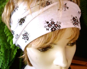womens Headband extra Wide Headband black and white floral Comfortable Yoga turband Alopecia soft cotton