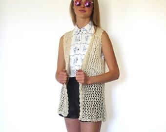 70s Cotton Crochet Open Weave Longline Granny Vest xs s m