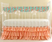 Mint and Peach Hope Chest bumperless crib bedding set- OOP fabric - LAST ONE!!