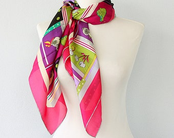 Silk scarf with fruit print Tropical silk shawl Neck scarf Head scarf Luxury gift for her Summer accessory Bright colorful Fuchsia magenta