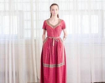 Vintage 1950s Folk Dress - 50s Maxi Dress - Donna Cultura Dress
